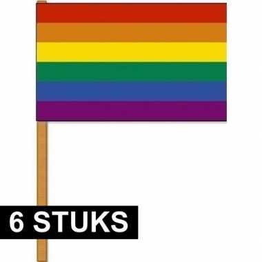 6x regenbogen zwaaivlaggen/handvlaggen 30 x 45 cm polyester