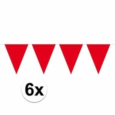 6x rode vlaggenlijnen 10 meter