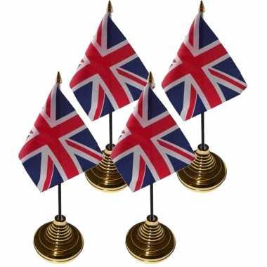 6x stuks tafelvlaggetjes groot brittannie op voet van 10 x 15 cm