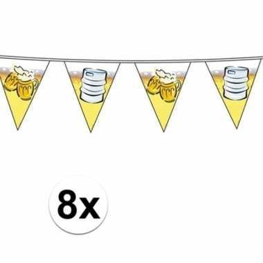 8x feest vlaggenlijnen met oktoberfest bier 10 meter