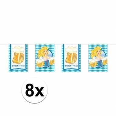8x feestartikelen oktoberfest vlaggenlijntje/slingertje 10 m