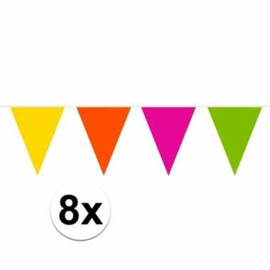 8x gekleurde slinger 10 meter