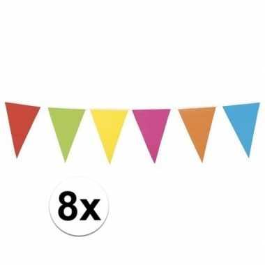 8x gekleurde vlaggenlijn xl 10 meter