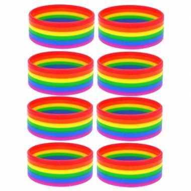 8x regenboogvlag kleuren armbandje 20 cm