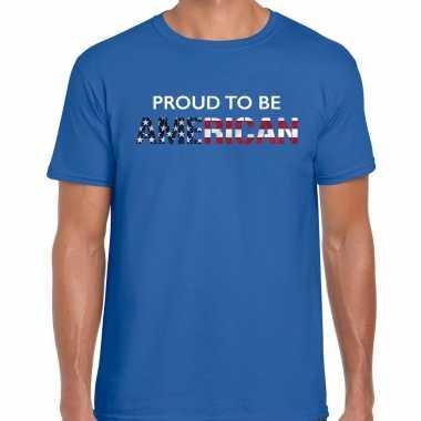 Amerika proud to be american landen t-shirt blauw heren