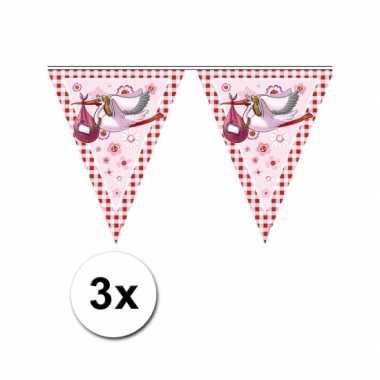Baby geboren vlaggetjes een meisje 3x