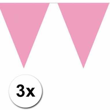 Baby roze vlaggenlijnen 3 x