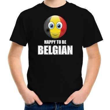 Belgie emoticon happy to be belgian landen t-shirt zwart kinderen