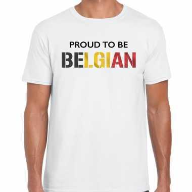 Belgie proud to be belgian landen t-shirt wit heren