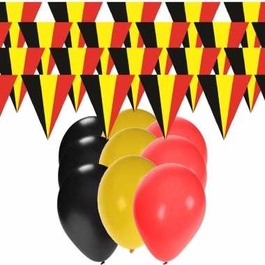 Belgie supporter versiering slingers 20 meter en 60x ballonnen