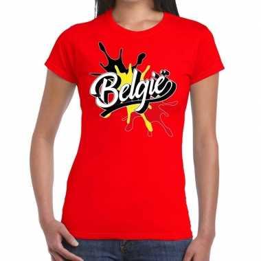 Belgie t-shirt spetter rood voor dames