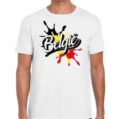Belgie t-shirt spetter wit voor heren