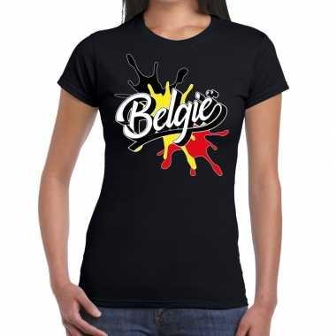 Belgie t-shirt spetter zwart voor dames