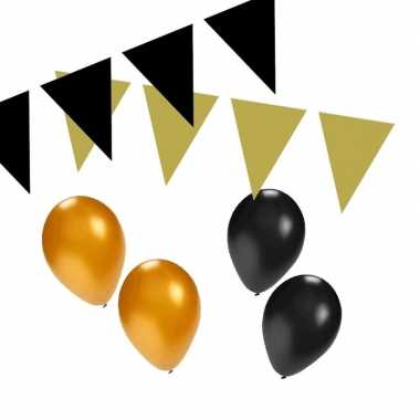 Black and gold feest thema versiering pakket small
