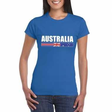 Blauw australie supporter t-shirt voor dames