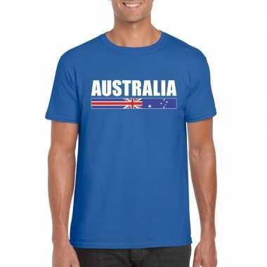 Blauw australie supporter t-shirt voor heren