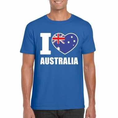 Blauw i love australie fan shirt heren