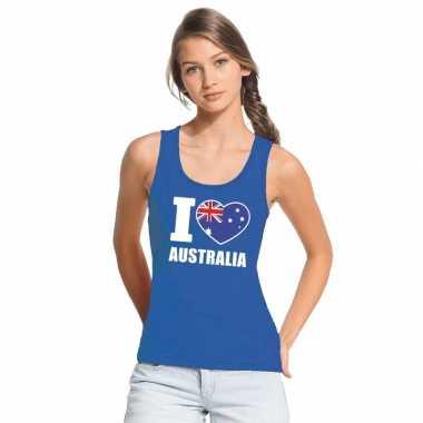 Blauw i love australie fan singlet shirt/ tanktop dames