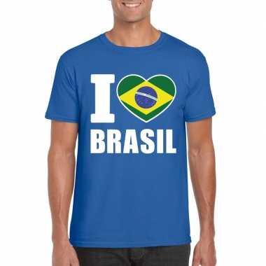 Blauw i love brazilie fan shirt heren