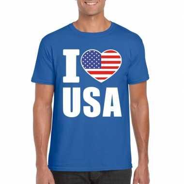 Blauw i love usa - amerika fan shirt heren