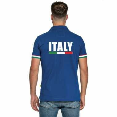 Blauw italie supporter polo heren