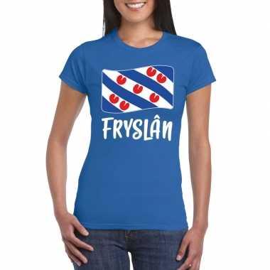 Blauw t-shirt fryslan / friesland vlag dames