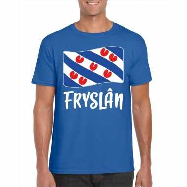 Blauw t-shirt fryslan / friesland vlag heren