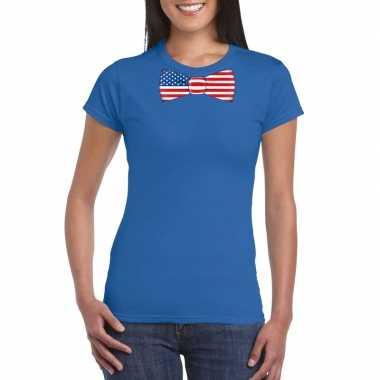 Blauw t-shirt met amerika vlag strikje dames