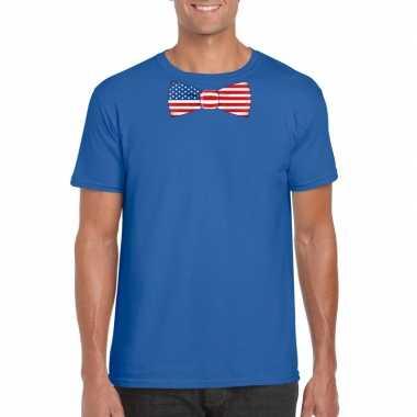 Blauw t-shirt met amerika vlag strikje heren