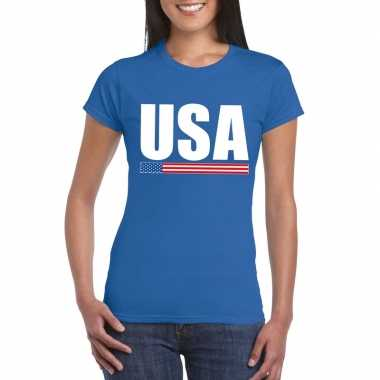 Blauw usa supporter t-shirt voor dames