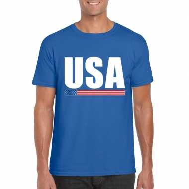 Blauw usa supporter t-shirt voor heren