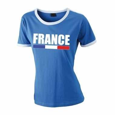 Blauw/ wit frankrijk supporter ringer t-shirt voor dames