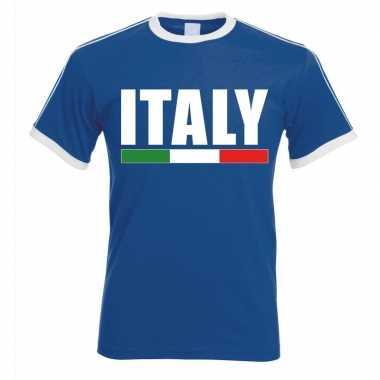 Blauw/ wit italie supporter ringer t-shirt voor heren
