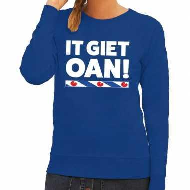 Blauwe trui / sweater friesland it giet oan dames