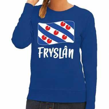 Blauwe trui / sweater fryslan / friesland vlag dames