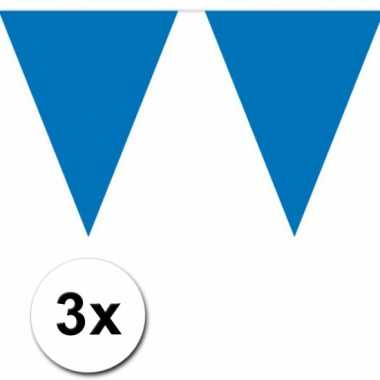 Blauwe vlaggenlijnen 3 x