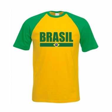 Brazilie supporter baseball t-shirt geel/ groen voor heren