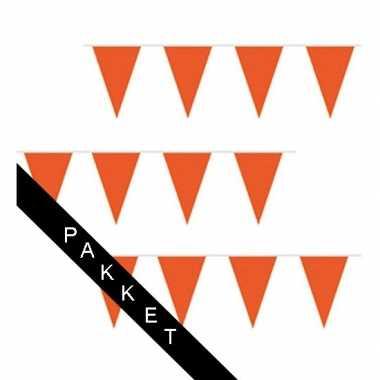 Buurtversiering oranje vlaggenlijnen 100 meter brandvertragend