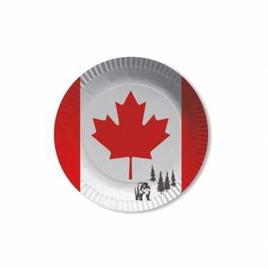 Canada vlag thema wegwerp bordjes 8x stuks
