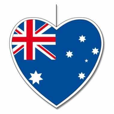 Decoratie hart met australische vlag 14 cm