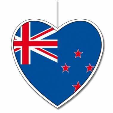 Decoratie hart met nieuw zeelandse vlag 30 cm