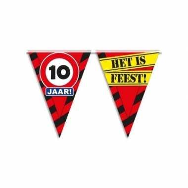 Decoratie vlaggenlijn verkeersbord 10 jaar