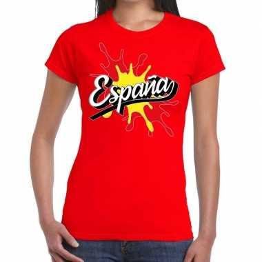 Espana/spanje t-shirt spetter rood voor dames