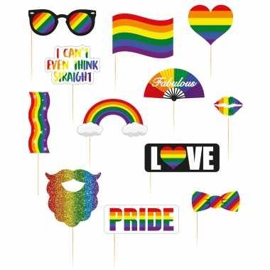 Foto prop set regenboog/rainbow/pride vlag op stokjes 36-delig