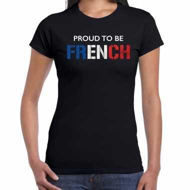 Frankrijk proud to be french landen t-shirt zwart dames