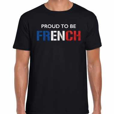 Frankrijk proud to be french landen t-shirt zwart heren