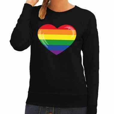 Gay pride regenboog hart sweater zwart voor dames