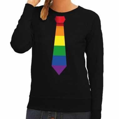 Gay pride regenboog stropdas sweater zwart voor dames
