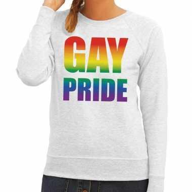 Gay pride regenboog tekst sweater grijs voor dames