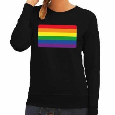 Gay pride regenboog vlag sweater zwart voor dames